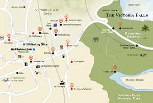 Victoria Falls Map and Guide