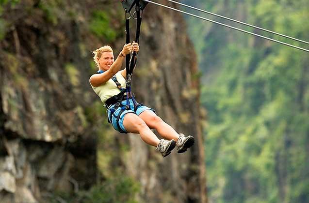 Zipling acros the Bokota Gorge