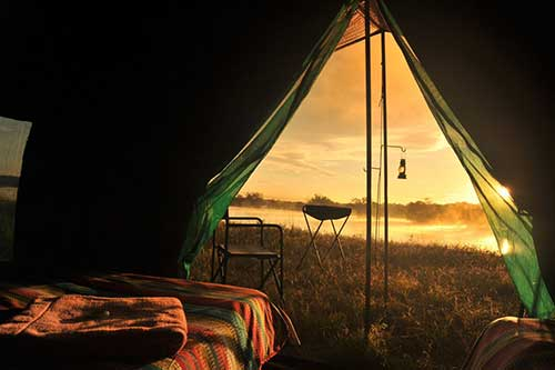 Overnight camping on the banks of the Zambezi River