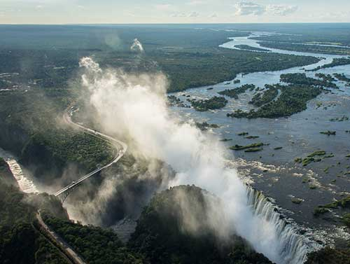 Flying over Victoria Falls