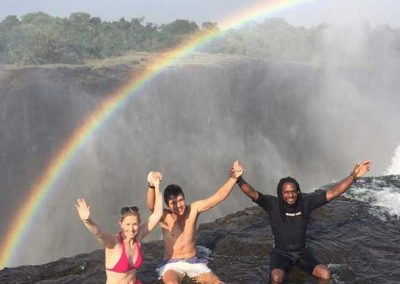 On the edge of  The Victoria Falls