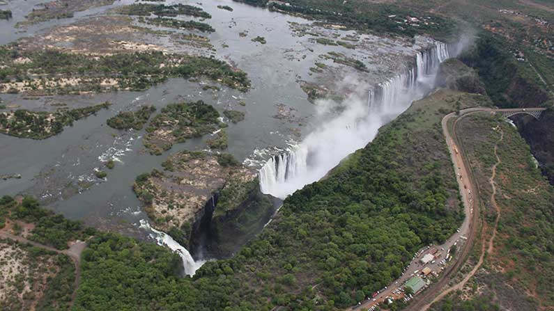 Aerial view of Victoria Falls in January 2020