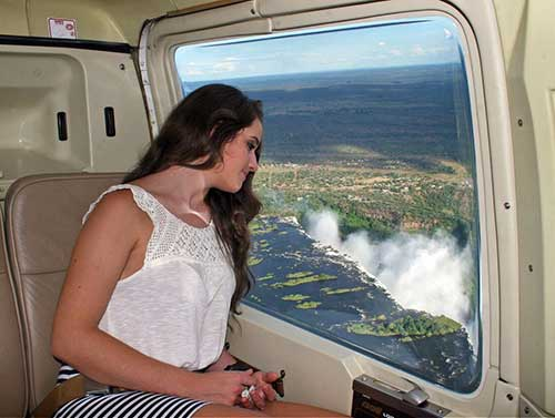 Scenic helicopter flight over Victoria Falls