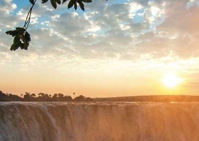 Sunset over the Victoria Falls