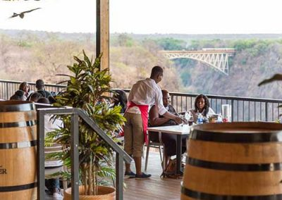 View of the Victoria Falls bridge from The Lookout Cafe