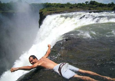 Hanging over Victoria Falls edge