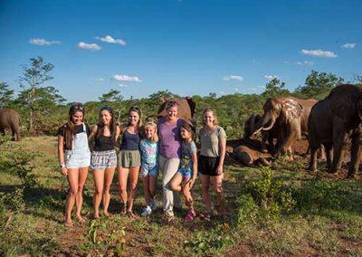 Victoria Falls Activities selfie with elephants