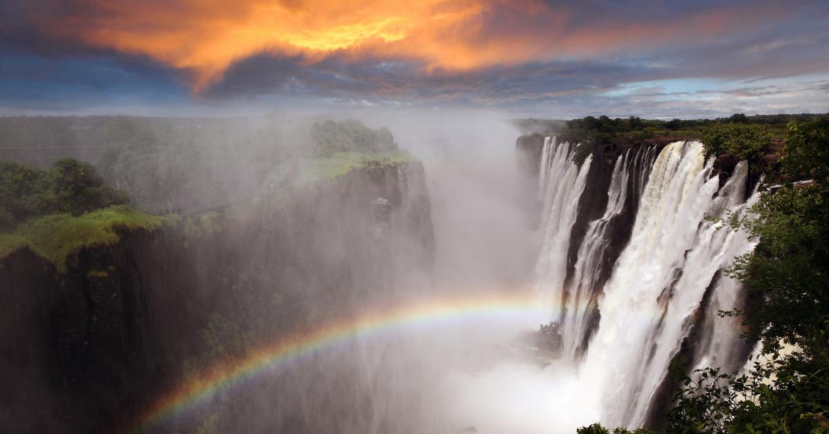 Victoria Falls sunrise rainbow