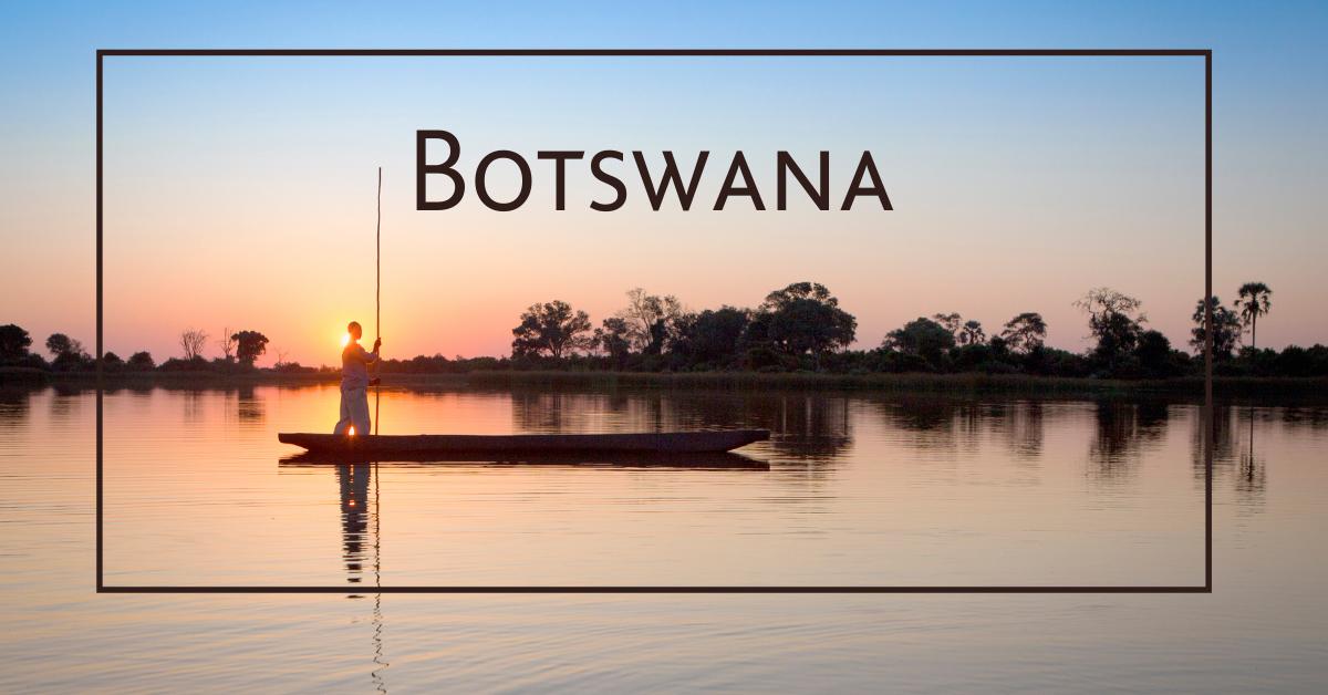 Botswana-mokoro-sunset