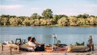 cocktails and canape sundowner on Zambezi River