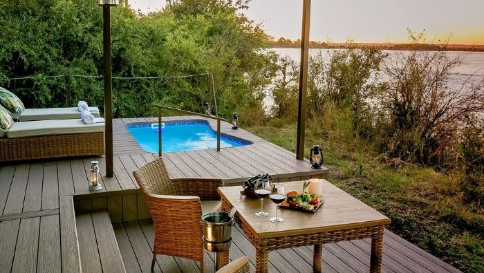 private plunge pool seating area river view